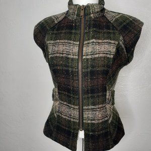 CABI Tweed Wool Zip & Belted Green& Brown Vest